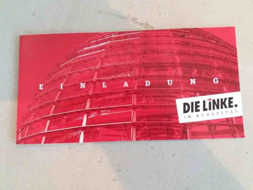 Einladungs-Postkarte der Linken
